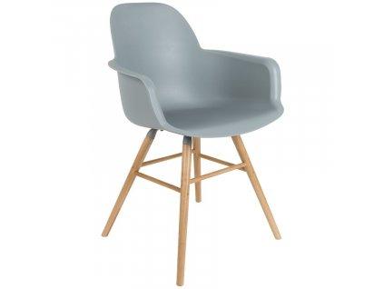 Světle šedá plastová jídelní židle ZUIVER ALBERT KUIP s područkami