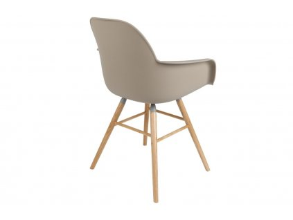 Béžová židle ZUIVER ALBERT KUIP, sedák propylen, jasanové podnože