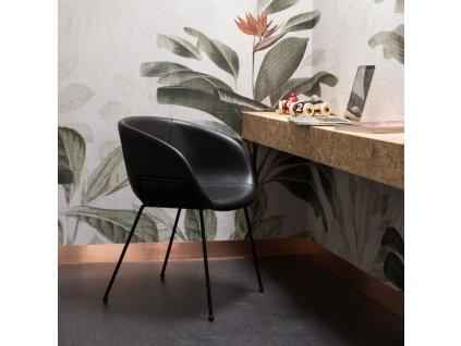 Jídelní židle Zuiver Feston černá ekokůže černá kovová podnož