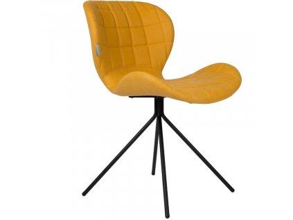 Jídelní židle Zuiver OMG LL žlutá barva ekokůže černá ocelová podnož