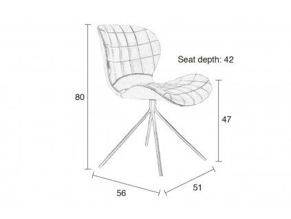 Látková jídelní židle Zuiver OMG v černé barvě, černá ocelová podnož