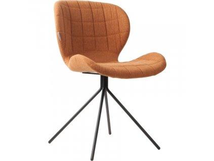 Látková jídelní židle Zuiver OMG v hnědé barvě, černá ocelová podnož