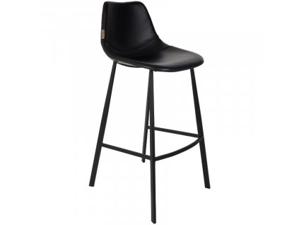 Vintage černá barová židle DUTCHBONE FRANKY, ekokůže