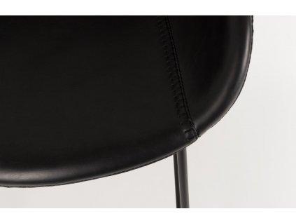 Černá barová židle ZUIVER FESTON 76 cm, sedák z ekokůže, černá kovová podnož