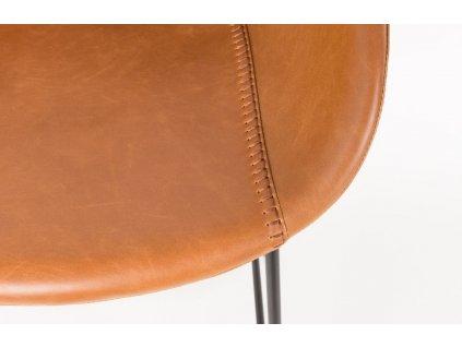 Hnědá barová židle ZUIVER FESTON 76 cm, sedák z ekokůže, černé kovové podnože