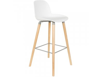 Bílá plastová barová židle ZUIVER ALBERT KUIP 75 cm