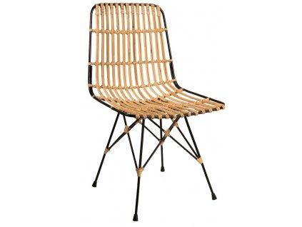 Přírodní ratanová jídelní židle DUTCHBONE KUBU, černá lakovaná kovová podnož
