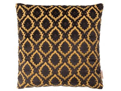 Černý polštář DUTCHBONE GLORY, zlatavě žlutý vzor, starožitné detaily