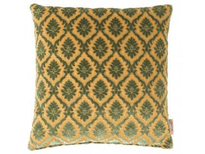 Zelený polštář DUTCHBONE GLORY, zlatavě žluté prošívání, starožitné detaily
