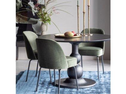 Zelená sametová jídelní židle Tergi