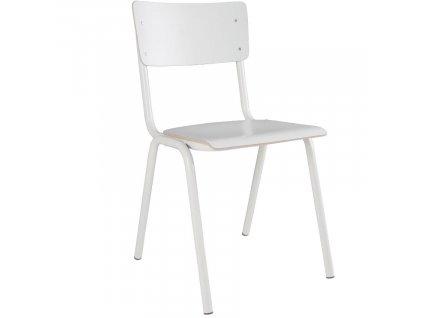 Bílá dřevěná židle ZUIVER BACK TO SCHOOL