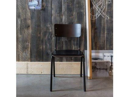 Žlutá dřevěná židle ZUIVER BACK TO SCHOOL