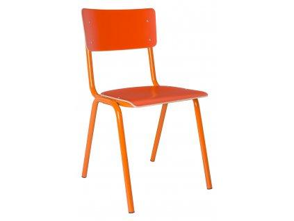Oranžová jídelní židle ZUIVER BACK TO SCHOOL sedák a opěrák z překližky oranžová kovová podnož
