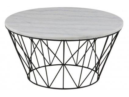 Bílý mramorový konferenční stolek Marila 80 cm, mramorová, bílá deska s matným povrchem, lakovaný kov