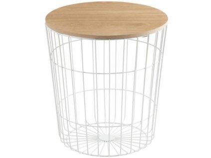 Moderní kovový odkládací stolek s dřevěnou deskou Rufus Ø 43 cm, bílá barva