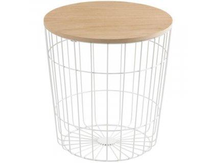 Moderní kovový odkládací stolek s dřevěnou deskou Rufus Ø 39 cm, bílá barva