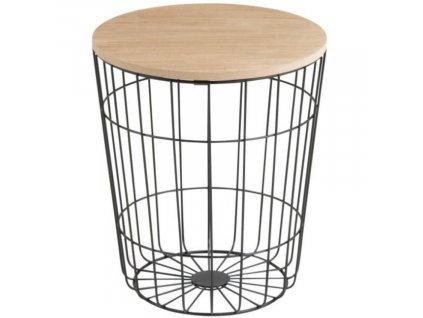 Moderní kovový odkládací stolek s dřevěnou deskou Rufus Ø 39 cm, černá barva