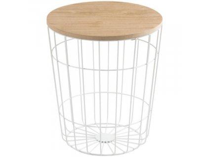 Moderní kovový odkládací stolek s dřevěnou deskou Rufus Ø 34 cm, bílá barva