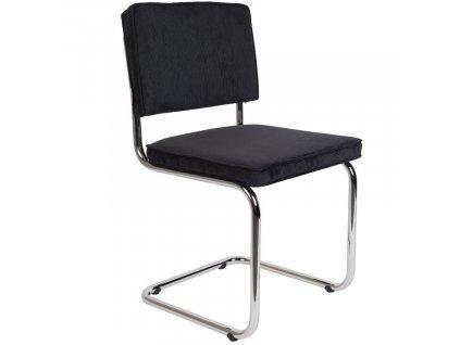 Černá manšestrová jídelní židle ZUIVER RIDGE RIB s lesklým rámem