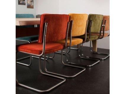 Červená látková židle ZUIVER RIDGE RIB s lesklým rámem