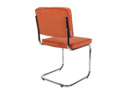 Oranžová látková židle ZUIVER RIDGE RIB s lesklým rámem