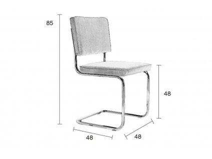 Šedá látková židle ZUIVER RIDGE RIB s lesklým rámem