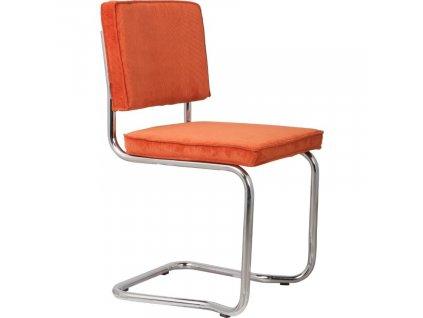 Oranžová látková jídelní židle ZUIVER RIDGE KINK RIB