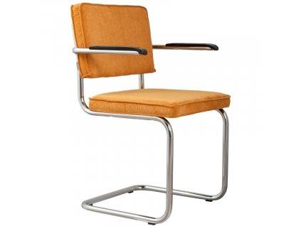 Žlutá manšestrová jídelní židle ZUIVER RIDGE RIB s područkami848x848 (5)