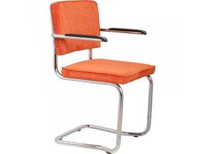 Oranžová látková židle ZUIVER RIDGE KINK RIB s područkami