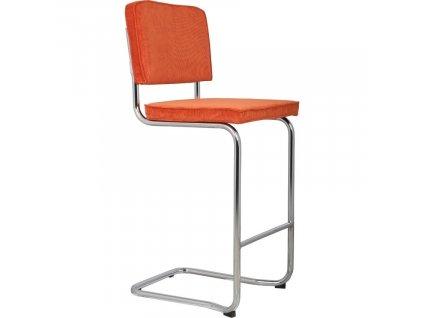 Oranžová čalouněná barová židle ZUIVER RIDGE KINK RIB