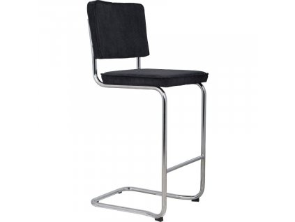Černá látková barová židle ZUIVER RIDGE KINK RIB s chromovanou lesklou podnoží