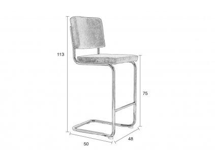 Červená látková barová židle ZUIVER RIDGE KINK RIB s chromovanou lesklou podnoží