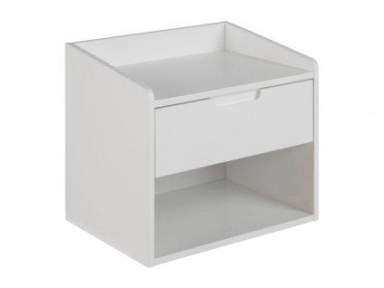 Bílý noční stolek Drela, lakované dřevo