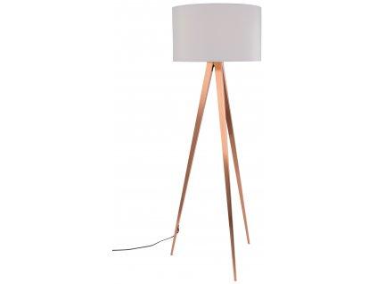 Měděná stojací lampa ZUIVER TRIPOD Ø 50 cm s bílým stínidlem