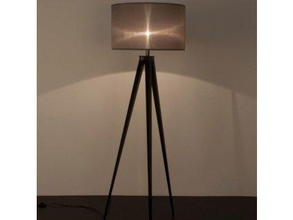 Černá stojací lampa ZUIVER TRIPOD Ø 50 cm s šedým stínidlem