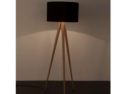 Přírodní stojací lampa ZUIVER TRIPOD Ø 50 cm s černým stínidlem
