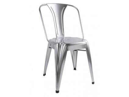 Stříbrná kovová jídelní židle Atago