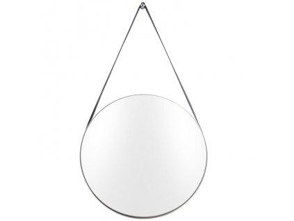 Kovové kulaté závěsné zrcadlo s koženým popruhem Grimo 47 cm, stříbrná barva
