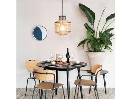 Kovové závěsné zrcadlo WLL White Label Living Raj Small Ø 36 cm, černá barva