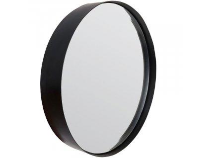 Kovové závěsné zrcadlo WLL White Label Living Raj Medium Ø 60 cm, černá barva