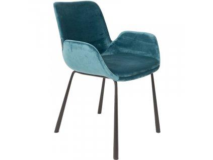 Jídelní židle ZUIVER BRIT čalouněná sametovou látkou v petrolejové barvě
