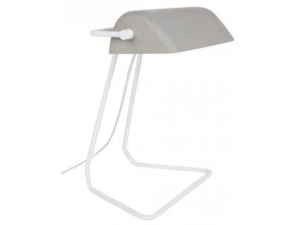 Šedá stolní lampa ZUIVER BROKER bílá základna kov betonový vzhled