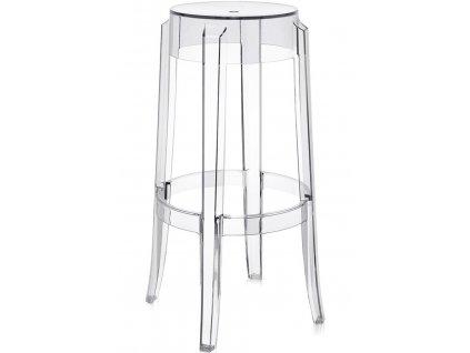 Designová plastová barová židle Ghost 75 transparentní