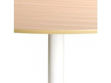 Přírodní kulatý jídelní stůl Kreon 110 cm, MDF, dubová dýha, kov