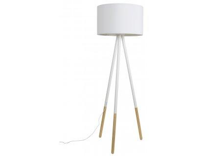 Bílá stojací lampa ZUIVER HIGHLAND textilní stínidlo