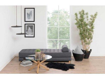 Skleněný konferenční stolek Skyline 82 cm , sklo, kovová podnož potažená folií v dubovém dekoru