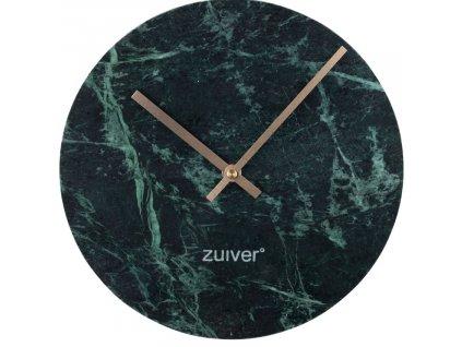 Zelené mramorové nástěnné hodiny Zuiver Marble Time v kombinaci se zlatými ručičkami