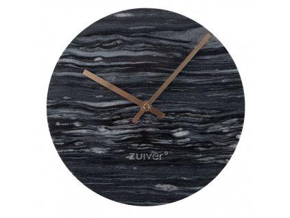 Šedé mramorové nástěnné hodiny Zuiver Marble Time v kombinaci se zlatými ručičkami