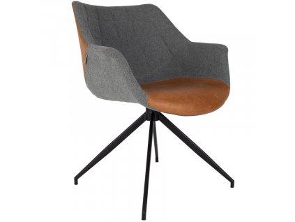 Vintage jídelní židle ZUIVER DOULTON šedá látka hnědá ekokůže ocelová podnož