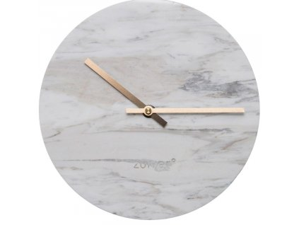 Bílé mramorové nástěnné hodiny Zuiver Marble Time v kombinaci se zlatými ručičkami